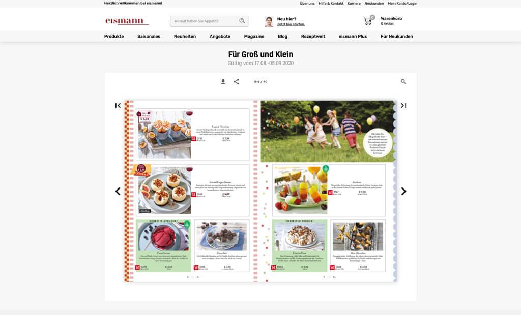 eismann screenshot Produktkategorie