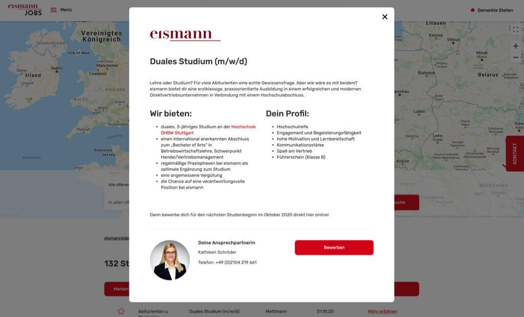 eismann jobs screenshot duales studium