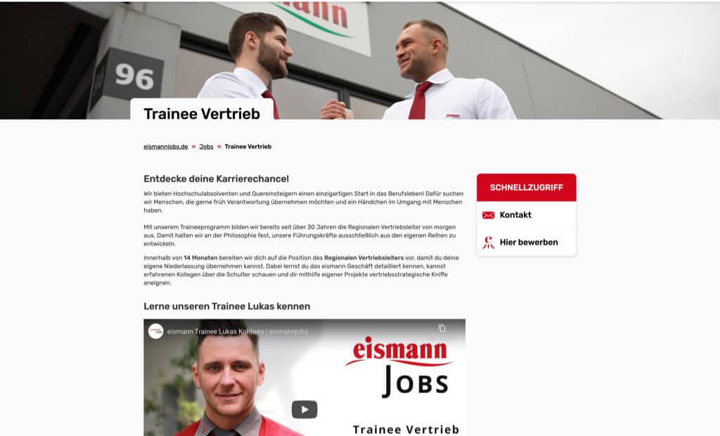 eismann jobs screenshot trainee vertrieb
