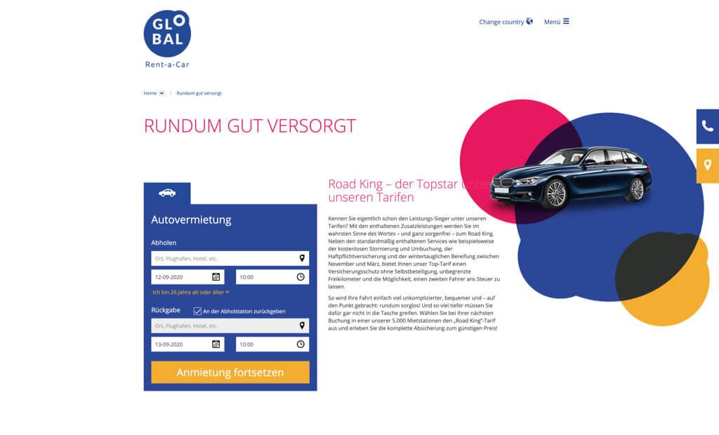 global rent a car screenshot formular zur vermietung