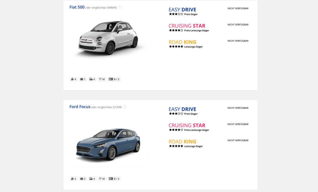 global rent a car screenshot produktdetails